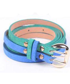 Color Block Twin Skinny Leather Belt