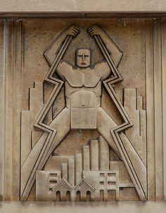 Chicagoan Art Deco (2) decoration element on the facade of a powerstation, on Richard J. Daley Plaza