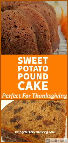 Sweet Potato Pound Cake is the perfect fall cake recipe for your Thanksgiving dessert table. Simple and easy to make and bursting with cinnamon and fall flavors. One of the BEST desserts you'll have this Thanksgiving. Click here for recipe. #Thanksgivingcake #poundcakelove #sweetpotatocake #poundcake