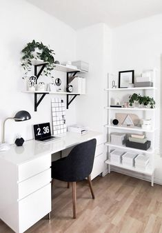 50 Home Office Design Ideas That Will Inspire Productivity - Office Desk - Ideas. 50 Home Office Design Ideas That Will Inspire Productivity – Office Desk – Ideas… 50 Home-Of Study Room Decor, Room Ideas Bedroom, Office In Bedroom Ideas, Teen Bedroom Designs, Ikea Room Ideas, Bedroom Inspo, Bedroom Inspiration, Room Design Bedroom, Ideas For Bedrooms