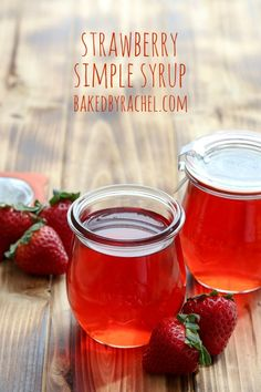 Homemade strawberry simple syrup recipe from @bakedbyrachel A perfect addition to breakfast or your favorite drink mix!
