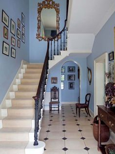 Grand staircase in Georgian town house - Sandy restored the handrail and balusters of the original staircase. The flooring is from Classical Flagstones of Bath and the walls are painted Lulworth Blue by Farrow & Ball Blue Hallway, Tiled Hallway, Hallway Flooring, Entry Tile, Staircase Railings, Grand Staircase, Staircase Design, Stairs, Staircases