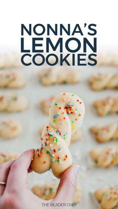 Nonna's wedding lemon cookies are the perfect spring-summer cookies. They are deliciously tangy, have a great dense texture, and are not overly sweet! Perfect for your afternoon tea and royal wedding viewing! Italian Lemon Cookies, Italian Wedding Cookies, Italian Christmas Cookies, Italian Cookie Recipes, Italian Desserts, Holiday Cookies, Christmas Desserts, Christmas Baking, Italian Easter Cookies