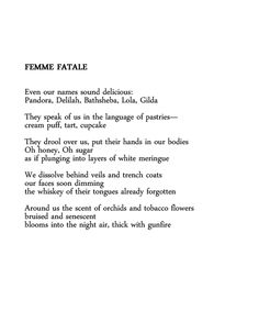 Femme Fatale by Jeannine Hall Gailey