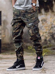 Model: Loose Material: Cotton Length: Full Length Trousers Shape: Straight Waist Line: Mid Waist Closure. Cargo Pants Men, Camo Pants, Jeans Pants, Camouflage Pants, Mens Cargo, Jogger Outfit, Jogger Pants Style, Casual Pants, Men Casual