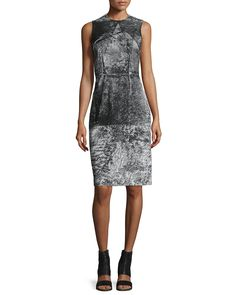 Crewneck Sleeveless Printed Slip Dress