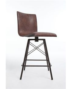 Wrought iron & leather swivel industrial bar stool. Perfect rustic meets modern piece!