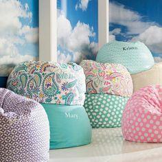 grüne lila-rosa Sitzsäcke Jugendzimmer Einrichtung Ideen