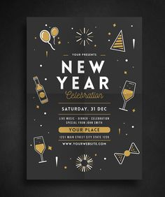 New Year Celebration Flyer Template AI, PSD