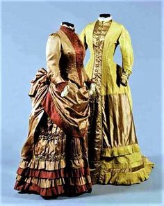Two great dress ideas. Left: cinnamon satin & velvet walking outfit, ca. 1875-78, comprising fitted bodice and skirt with smocked and pleated satin detailing. Right: mustard-colored satin day dress with pale brown satin contrasts, ca. 1876; princess cut. Sotheby's