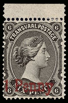 Transvaal 108 (141a) 1879 1d on 6d black-brown Q Victoria, type f (SG Type 11), red surcharge, scarce, top sheet-margin example, fresh and well centered