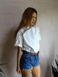 oversized top + granny blouse + denim shorts + belt : tomboy