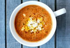 ... Tomato Soup with Chickpeas and Israeli Couscous #recipe #vegetarian