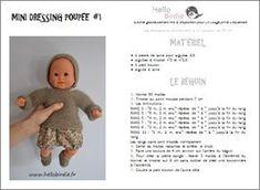 Tricot poupee Plus Preemie Clothes, Knitting Dolls Clothes, Crochet Doll Clothes, Doll Clothes Patterns, Baby Knitting, Crochet Baby, Knitted Baby, Knitting Ideas, Mini Dressing