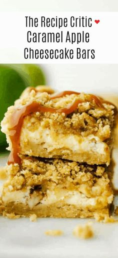 Caramel Apple Cheesecake Bars are a heavenly combination of buttery shortbread, topped with decadent cheesecake, tantalizing apple filling, crunchy sweet streusel and drizzled with ooey caramel on top. Nothing says here comes fall quite like these!