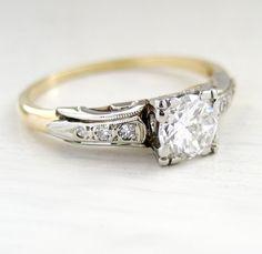 Vintage Art Nouveau Diamond Engagement Solitaire Ring