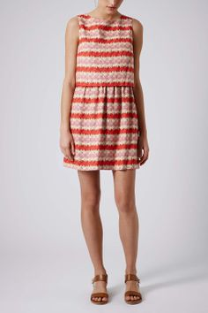 Topshop Kiwi Stripe Print Dress with linen and viscose