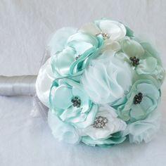 Fabric Flower Bouquet in Mint & Silver