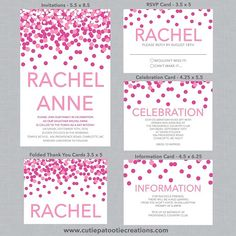 Bat Mitzvah Invitations, Logo and Favors by CutiePatootieCreations.com. Shades of Pink Confetti Bat Mitzvah Invitations. Coordinating RSVP, Info Card, Reception Card, Logo, Favors, Stickers, and More all available to match this theme!