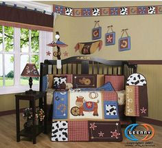 Baby Boy Rustic Country Cowboy Western Theme Crib Nursery Bed Quilt Bedding Set And