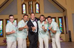 Groom with groomsmen at Sacred Hearts Mission Church in Kapalua  | Maui Wedding | Maui Bride | Destination Wedding