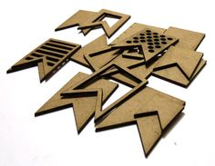 Layered Banners - shaped chipboard embellishments for scrapbooking card making altered art mixed media tags canvases and more.