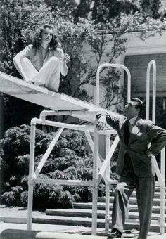 Katharine Hepburn and Cary Grant on the set of The Philadelphia Story (1940)