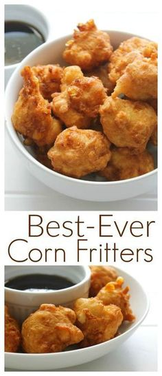 This is my Gram's Corn Fritters Recipe that she passed down to me and they really are the best you'll ever have! Perfect bites of golden brown deliciousness made extra yummy with a drizzle of maple syrup. Perfect as an appetizer side dish or even a me Corn Fritter Recipes, Corn Recipes, Side Dish Recipes, Corn Fritters Recipe With Creamed Corn, Cream Corn Fritters, Sweet Corn Fritters, Empanadas, Finger Food Appetizers, Appetizer Recipes
