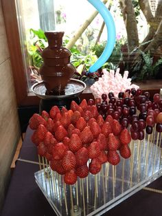 chocolate fondue- have fruits and yummies already speared with kabob skewers.
