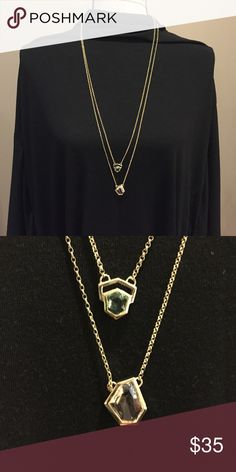 "Beautiful Cole Haan layered necklace NWT Cole Haan layered necklace. Longest chain has a clear stone and the shorter chain has a pale green stone. Nice weight piece.  Longest chain approx 31"", shorter chain approx 30"". With 2"" extender. Cole Haan Jewelry Necklaces"