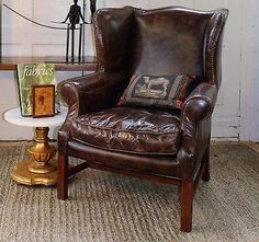 Lillian August Stratford Distressed Leather Wingback Chair