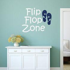 Flip Flop Zone Decal Beach House Wall Decal by StickyWallVinyl Beach Wall Decals, Vinyl Wall Decals, Wall Sticker, Nautical Wall Decor, Coastal Decor, House Wall, Vinyl Lettering, Wall Quotes, Wall Signs