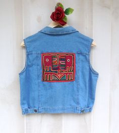Blue Denim Vest Embellished with Vintage by MoonriseWorkshop