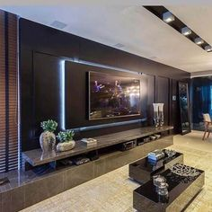 Chic and Modern TV wall mount ideas. - Since many people including your family enjoy watching TV, you need to consider the best place to install it. Here are 15 best TV wall mount ideas for any place including your living room. Living Room Home Theater, Luxury Living Room, Room Design, Living Room Theaters, Tv Wall Design, House Interior, Living Room Design Modern, Living Room Tv Unit Designs, Living Room Tv Wall