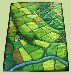 """""""The Irish Quilt"""" Wall Quilt - Hmm. Maybe with the river winding through more of the quilt? And some forested areas? Or a town with train tracks and a train running through? Patchwork Quilt, Map Quilt, Mini Quilts, Quilting Fabric, Landscape Art Quilts, Landscapes, Beginning Quilting, Quilt Modernen, Green Quilt"""