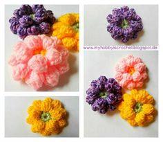 DIY Crochet Flowers : DIY Crochet Dahlia Flower- Free Pattern with Phototutorial