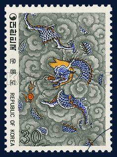 Postage Stamps of Folk Painting Series(Ⅲ), Dragon among Clouds, Traditional Art, rainbow, Blue, Gray, 1980 07 10, 민화 시리즈(제3집), 1980년 07월 10일, 1180, 운룡도,  Postage 우표