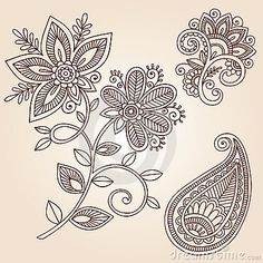Elementos del diseño del vector del Doodle de la flor del tatuaje de la alheña