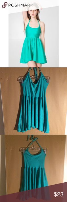 American Apparel Nylon Tricot Halter Skater Dress AA nylon dress in beautiful condition - no stains, snags, or discoloration (excuse the wrinkles 🙃). Lighting is off but it is the mermaid green in the AA stock photo. size MEDIUM. American Apparel Dresses