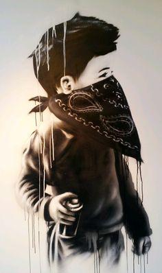 I really want this art piece. Street Art Banksy, Graffiti Wall Art, Gas Mask Art, Masks Art, Aztecas Art, Arte Cholo, Pop Art, Tupac Art, Arte Punk