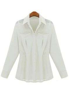 White Lapel Long Sleeve Pockets Chiffon Blouse US$39.33
