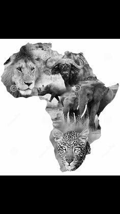 Africa big 5 tattoo design