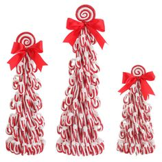 RAZ 14inch Peppermint Candy Cone Tree set of 3  shelley b home and holiday