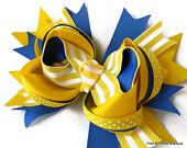 Royal blue, yellow stacked boutique hair bow, hairbows, baby toddler infant girls hair accessory for Spring, Easter