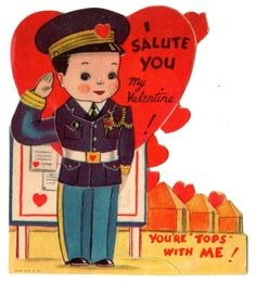 WWII MILITARY OFFICER SALUTES YOU - YOU'RE TOPS / VTG MECHANICAL VALENTINE CARD