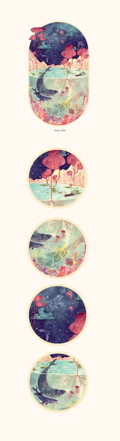 Ocean by Svabhu Kohli. I love the idea of these drawings. I could maybe do something similar maybe with galaxies and planets and other things?: