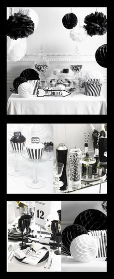 A black and white wedding is so elegent and classic...keep to a strict black and white theme, or add punches of bold colours!