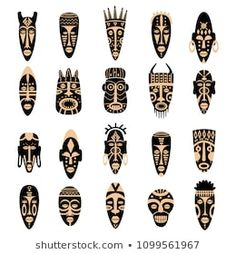 Find Set African Tribal Masks Ritual Symbols stock images in HD and millions of other royalty-free stock photos, illustrations and vectors in the Shutterstock collection. Thousands of new, high-quality pictures added every day. African Symbols, Tribal Symbols, Arte Tribal, Tribal Art, African Tribal Tattoos, Art Du Monde, Afrique Art, African Crafts, African Sculptures