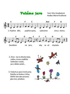 Voláme jaro: Aa School, School Songs, School Clubs, Music Do, Kids Songs, Music Notes, Preschool Activities, Sheet Music, Kindergarten