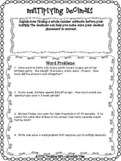 Worksheets For Multiplication And Division Of Decimals Math Tutor, Teaching Math, Maths, Teaching Multiplication, Math Literacy, Numeracy, Sixth Grade Math, Fourth Grade Math, Third Grade